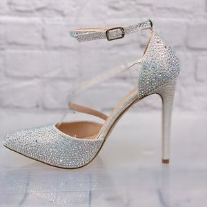 Cathy Jean Jeweled Silver Heels NEW